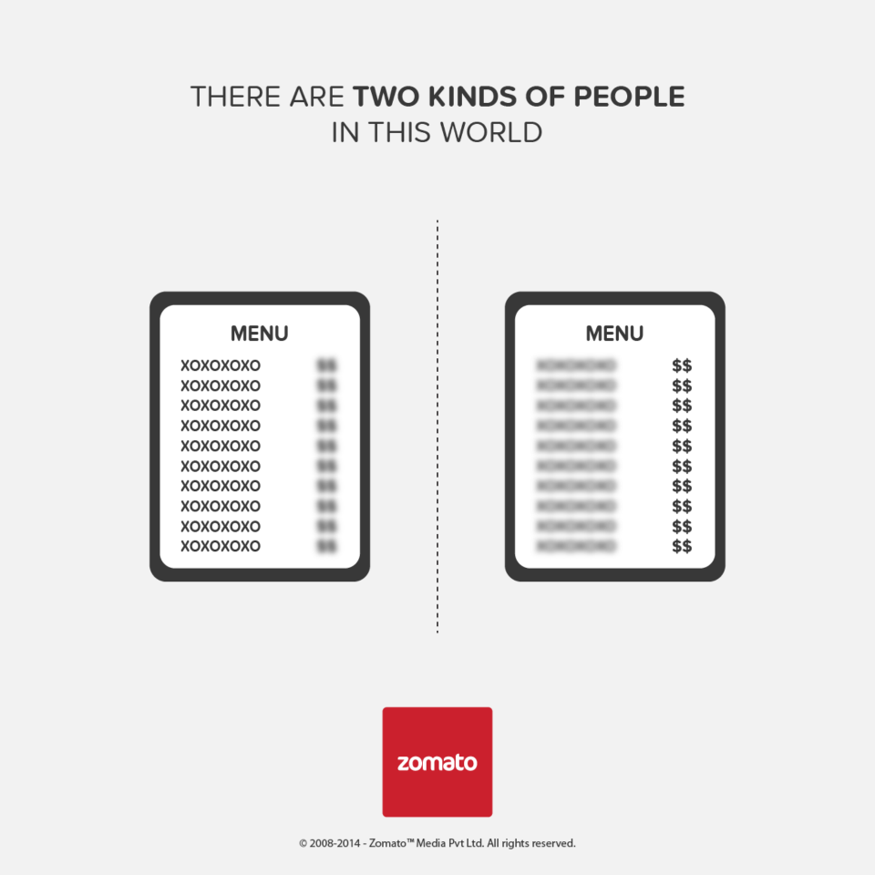 zomato s creative there are two kinds of people campaign mad