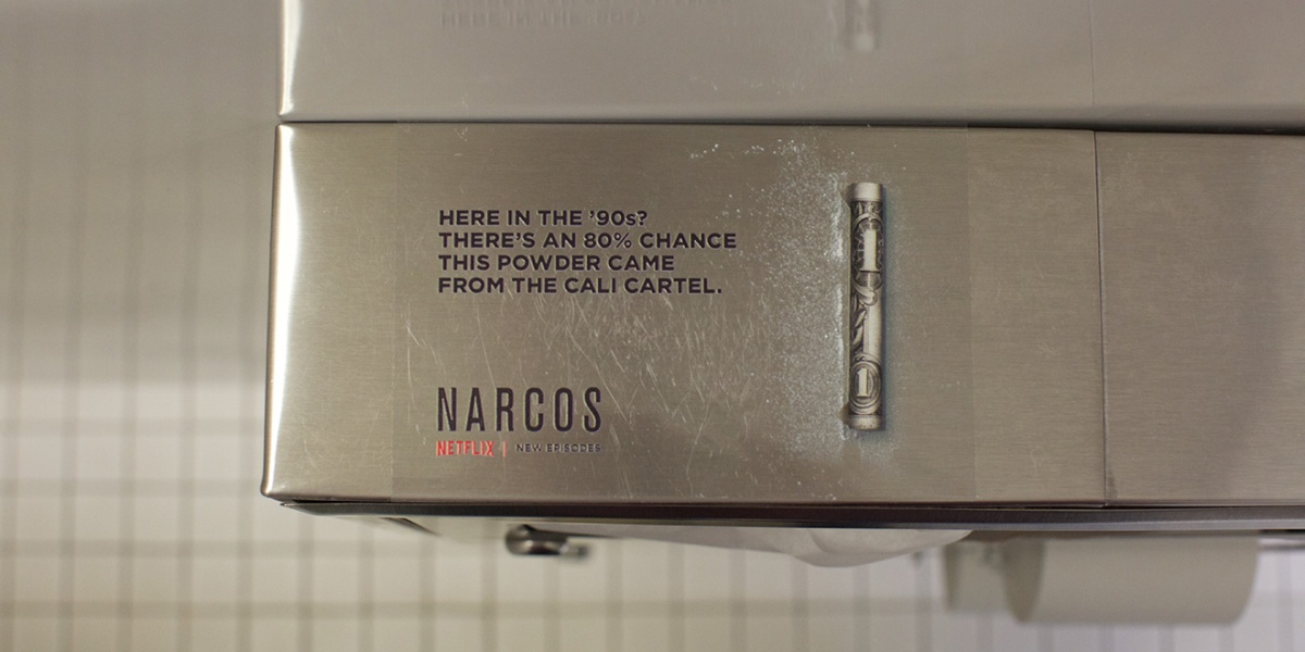 Netflix Is Advertising The 3rd Season of Narcos By Secretly Placing 'White Powder' in Nightclub Bathrooms